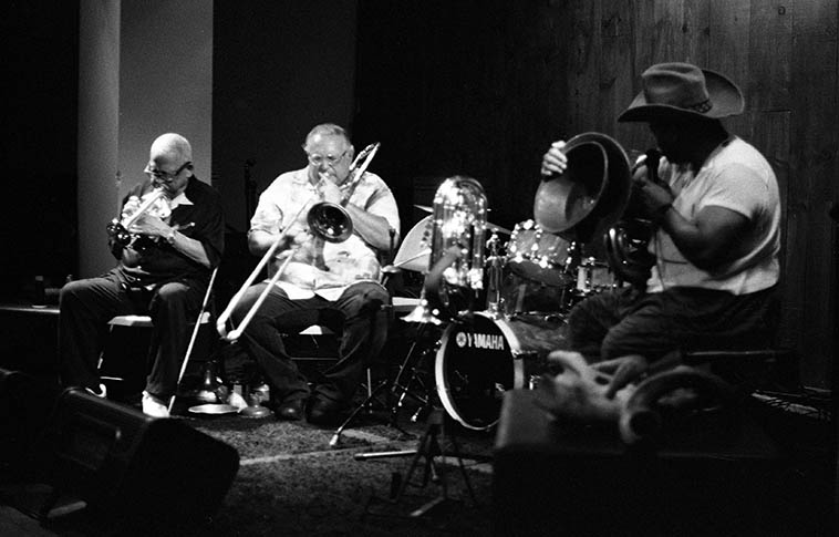 The Obihiro Cowboys under the direction of William Roper (tuba, percussion, and cowboy hat), Michael Vlatkovich (trombone &percussion), Bobby Bradford (cornet &percussion), and Joseph Mitchell (drums) at The Blue Whale, Japantown, Los Angeles -- June 21, 2015 -- I was in town to bury my mom and these guys played such incredible spontaneously improvised music this night, it was off the map, just the perfect bath I needed ---- photo by Mark Weber