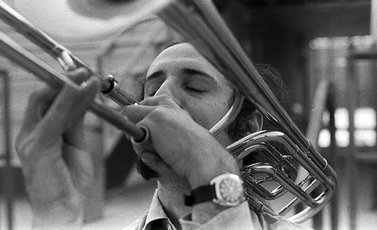 Glenn Ferris on the Bobby Bradford Quintet date April 14, 1979, Pasadena City College -- photo by Mark Weber