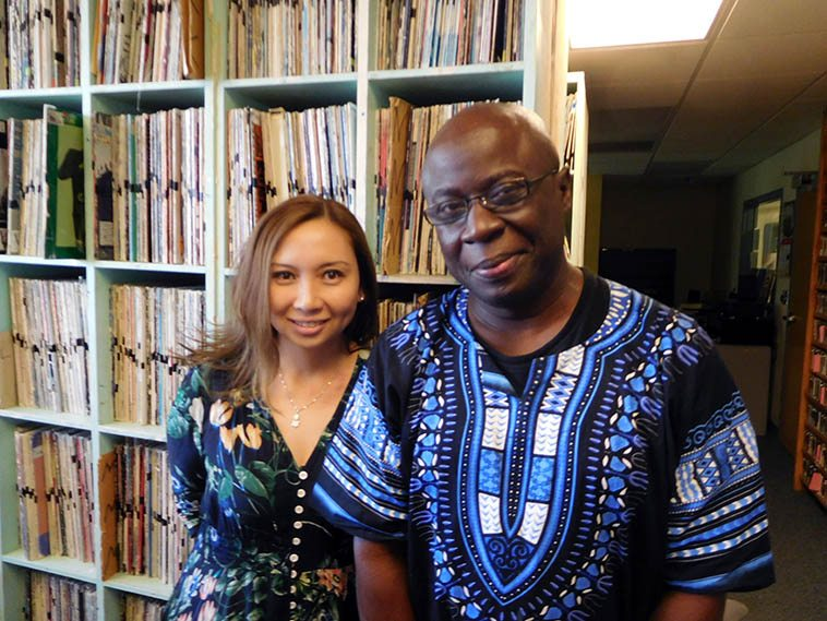 Meg Okura and Sam Newsome in the KUNM music library after our radio show August 10, 2017 -- they were tremendous on-air guests and we covered some very interesting ground in our conversations -- digital photo by Mark Weber