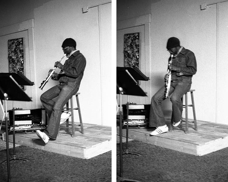 John Carter solo soprano recital at The Little Big Horn, Pasadena, California -- Sunday April 17, 1977 these photos could be showing the last time John played soprano in public or anywhere ---- He made the switch to total concentration on the clarinet (the photos the following Sunday show him only with clarinet) ---- for five years he had been playing both soprano and clarinet equally ---- He wrestled with the soprano's well-known intonation issues, always, but that's not why he went to clarinet ---- He went to clarinet at age 48 because he felt like this was the vehicle that completely worked for his expression, saying that it took a long time to figure that out (John talks about this in my CODA interview) ---- photo by Mark Weber