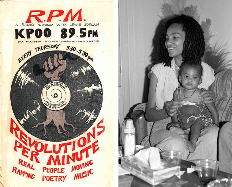 Poster for Lewis Jordan's radio show circa mid- to late-70s (I wonder who designed this gem?) and that's Bari Scott, renowned jazz disk jockey at KPFK Berkeley at trumpeter George Sam's place on 26th Street in San Francisco -- early September 1978 -- photo by Mark Weber