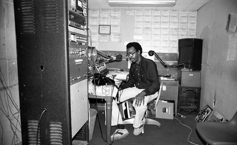 Lewis Jordan, jazz radio host and social activist at KPOO San Francisco -- September 1, 1978 -- photo by Mark Weber