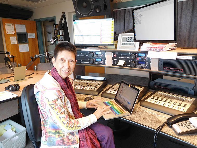 Mary B who's been on this station since time began -- Here she is being techno on Afternoon Free Form -- March 3, 2017 -- photo by Mark Weber