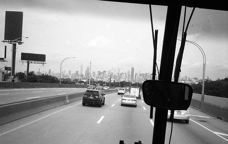 Roaring into the city at 9am on the Hampton Jitney approaching the Midtown Tunnel (42nd Street) -- August 6, 2o11 -- photo by Mark Weber