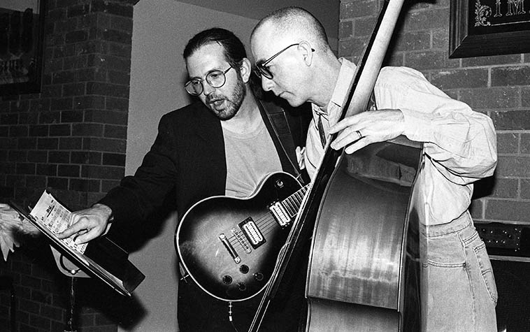Stefan Dill and David Parlato playing a club date on Central Avenue, Albuquerque -- February 13, 1996 -- photo by Mark Weber ------ I called David on the evening of his birthday (Oct. 31) in Ventura, California, little beach town and he's doing fine, still has his church gig Sunday mornings, and sometimes subs in Paul Anka's concert band (we'll update the David Parlato TimeLine with these occurances, soon) among other civic activities and being a grandfather