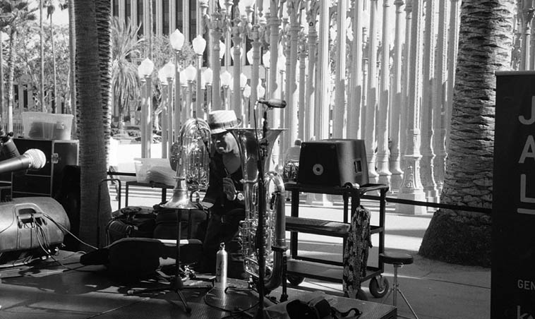 """William Roper and his tubas -- L.A. Country Museum of Art -- August 14, 2015 -- as part of Bobby Bradford's Tete-a-Tete band -- photo by Mark Weber ----- William has worked equally in symphony music as well as modern jazz ---- My earliest remembrance of classical music in any serious way is Tchaikovsky's Nutcracker Chicago Symphony conducted by Frederick Stock ----- somehow these three 12"""" 78rpm disks came into our household when I was very young and I listened to them to the point where I have the Nutcracker memorized to this day, those three records plus another of Liszt's Hungarian Rhapsody conducted by Leopold Stokowski (I still have these in my collection) are dug deep into my memory"""