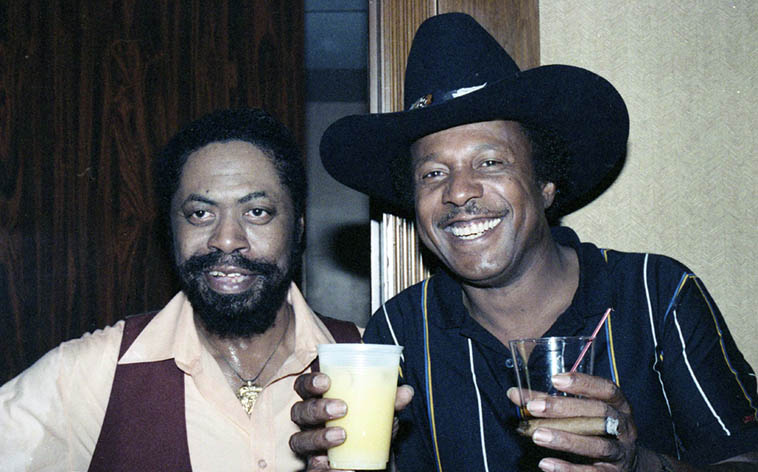 Two baad guitar players: Son Seals & Lonnie Brooks, bluesmen, out on the road, playing a roadhouse south of Cleveland, Ohio -- June 26, 1987 -- photo by Mark Weber