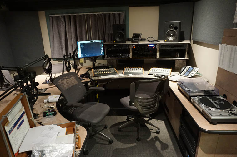 Studio C ------ Over the years this production studio has changed as we've outfitted it with new gear, and I have spent a lot of time within those four walls these past 22 or 23 years (that's my briefcase in foreground) A lot of work goes into producing radio ---- photo by MW