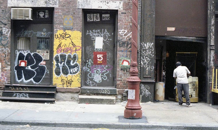 Dig the old Fallout Shelter sign (1961 vintage no doubt) – SoHo – September 25, 1992 – photo by Mark Weber