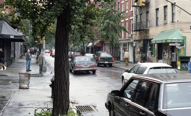 """Perry Street in the Village ---- September 27, 1992 Manhattan – photo by Mark Weber ---- """"Well, I think that what you are looking for – what I'm looking for – is resolution. And I can get it in my paintings, finally, for myself. In my life, it goes in and out. I have it one day, and I don't have it the next day. But that's why being an artist is so great, because you can get that kind of satisfaction."""" – Elizabeth Murray, 2001 interview in ART21 magazine"""