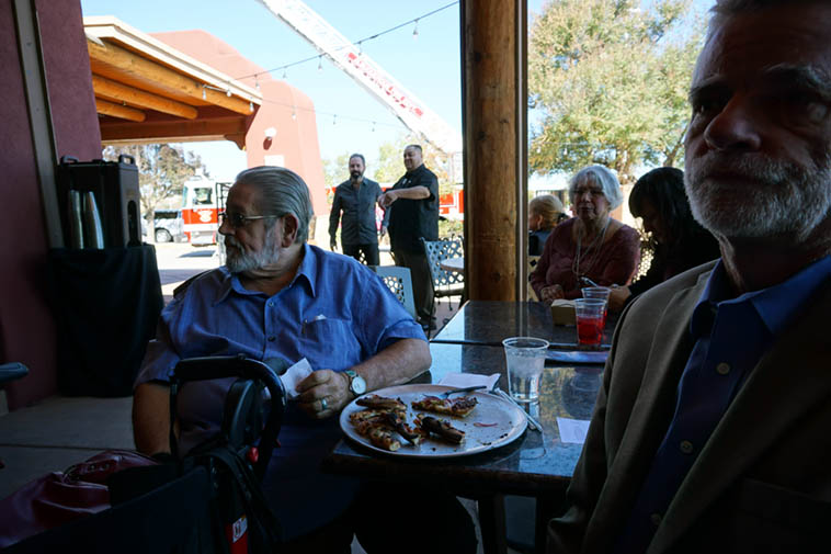 Lunch with Bobby Shew (that's Cal Haines extreme right, Bobby's drummer) ---- October 21, 2o18 --- Indian Pueblo Cultural Center, Albuquerque – photo by Mark Weber