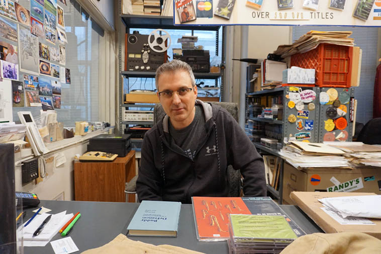Saxophonist Mike DiRubbo covering at The Jazz Record Center while Fred was out looking into acquiring a big record collection in Montreal – photo by Mark Weber – November 15, 2o18 NYC