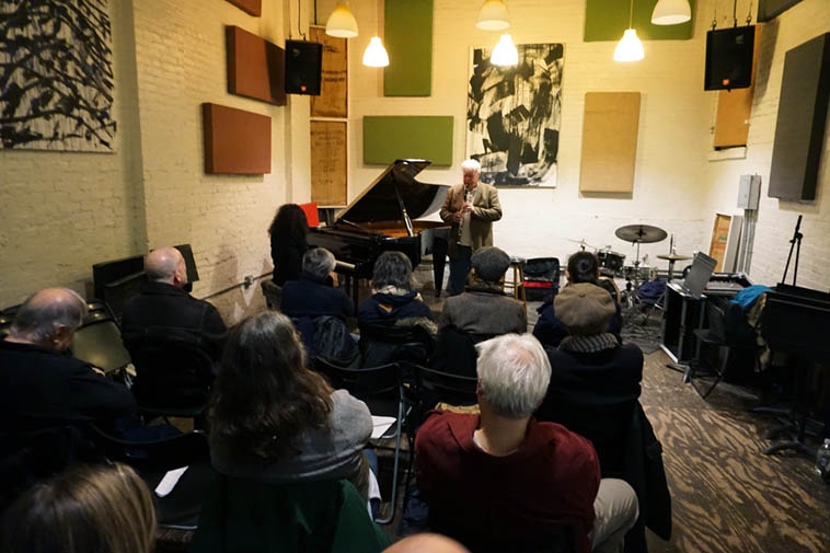 The venerable IBeam performance space in Brooklyn the night of our concert: myself reading poems, Carol Liebowitz, piano, and Bill Payne, clarinets ------- November 16, 2o18 ---- photo by Mark Weber