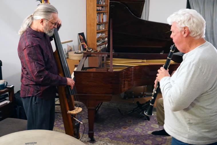 Ratzo B. Harris and Bill Payne ---- House jam at Carol's – November 17, 2018 – photo by Mark Weber