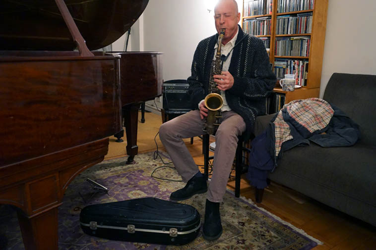 Gary Levy at Carol's house jam ------ Saturday November 17, 2o18 – photo by Mark Weber (Gary grew up in Canarsie, Brooklyn, and lives thereabouts these days, but graduated from University of New Mexico way back when) ---- that's Gary's 1931 Conn alto ----- my wife is a member of the Levy tribe