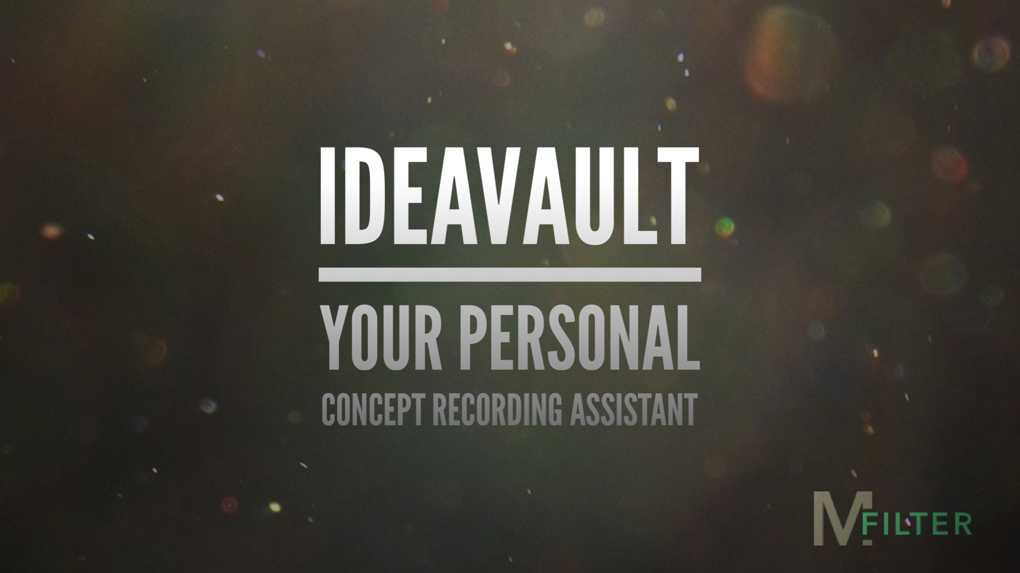 Hero Image displaying the title and subtitle of IdeaVault with a gradient shadow cast upon the letters