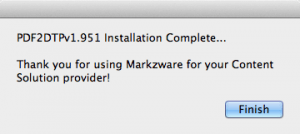 Markzware PDF2DTP for QuarkXPress Installation Complete