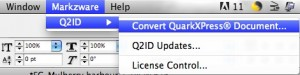 Élément de menu 'Convertir le document QuarkXPress' dans Markzware Q2ID Plugins InDesign CC 2018 pour convertir QuarkXPress en INDD