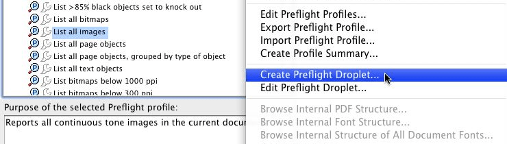 Create Preflight Droplet with Preflight Profiles Options