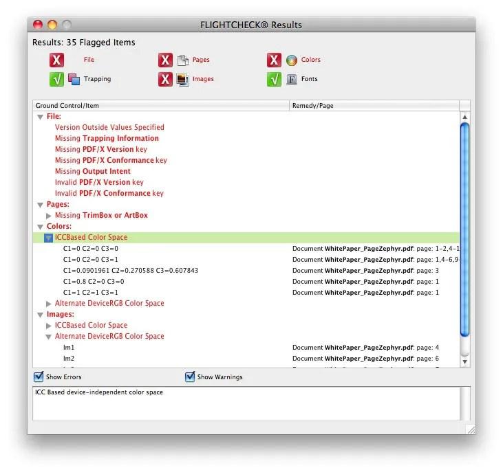 Contrôle en amont avec les outils PDF de Markzware FlightCheck pour vérifier les fichiers PDF pour une qualité d'impression avant impression