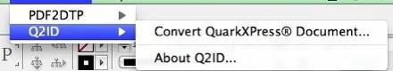 Markzware Q2ID pour InDesign CS6 Menu
