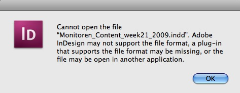 Adobe InDesign INDD Cannot Open the File