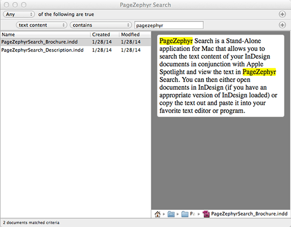 Markzware PageZephyr Search Mac Example 1