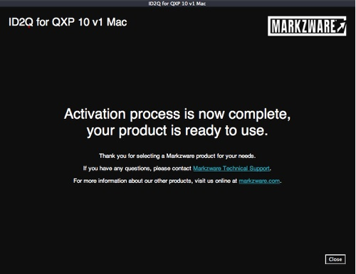 Markzware ID2Q QuarkXPress 9 10 Macintosh Activation