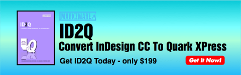 Convert InDesign CC to QuarkXPress 2015 on Mac via the ID2Q XTension by Markzware