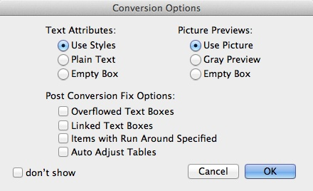 Markzware ID2Q for QuarkXPress Post Conversion Fix Options