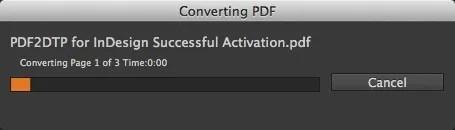 Barra de progreso de conversión para convertir PDF a través de PDF2DTP Complemento de InDesign para editar PDF en InDesign CC 2017