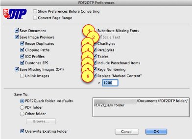 Markzware PDF2DTP for QuarkXPress Font Settings Preferences