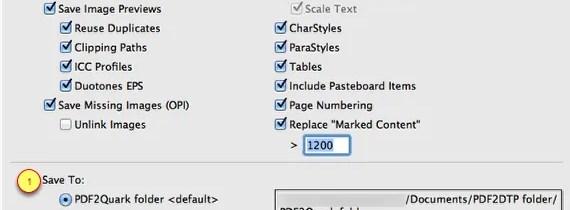 Markzware PDF2DTP for QuarkXPress Save To Preferences