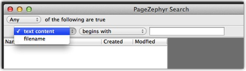 Markzware PageZephyr Search Mac Text Content Filename Criteria