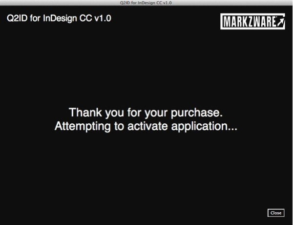 Markzware Q2ID for InDesign CC Attempting to Activate