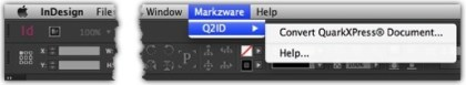 Markzware Q2ID InDesign Plugin's Quark to InDesign CC 2017 Menu Items to Convert QuarkXPress