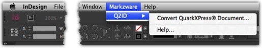 Menu in Markzware's Q2ID InDesign CC 2018 Plugin to Import QuarkXPress into Adobe InDesign CC 2018