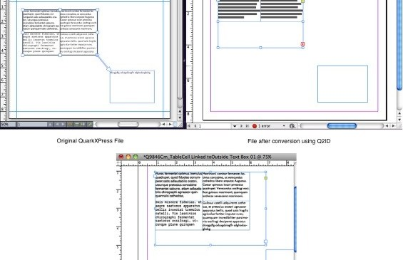 Markzware Q2ID for InDesign CC Table Cell linked to Outside Text Container