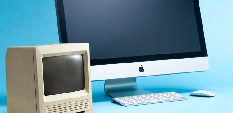 "Apple Macintosh SE30 9"" Mono Screen and Modern Apple Mac"