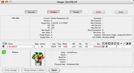 Fenêtre d'aperçu des images secondaires dans l'application FlightCheck Mac pour le contrôle en amont des fichiers prépresse Photoshop CC 2015