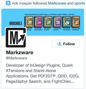 Rick Moquin (@inksmuge), Web Pressman for Digital Workflow, Markzware Twitter Follower