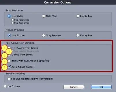 Markzware ID2Q QuarkXPress 9 10 Mac Post Conversion Fix Options