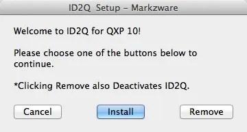 Markzware ID2Q QuarkXPress 9 10 Mac Setup Window