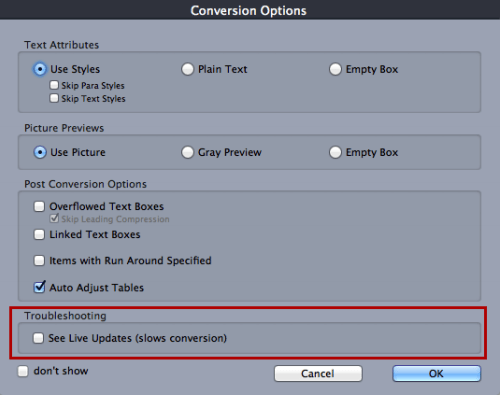 ID2Q for QuarkXPress 9 10 Override Options, Troubleshooting in Conversion Options window