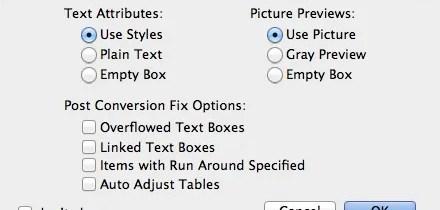 Markzware ID2Q for QuarkXPress Text Attributes Settings