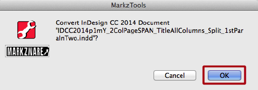 Markzware MarkzTools Intercepts InDesign CC 2014 File