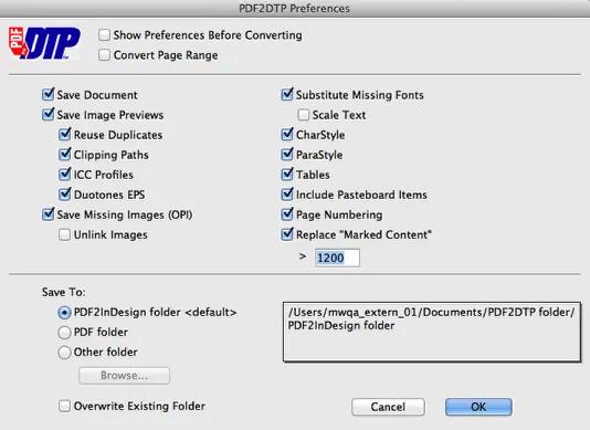 Markzware PDF2DTP voor InDesign Algemene voorkeuren