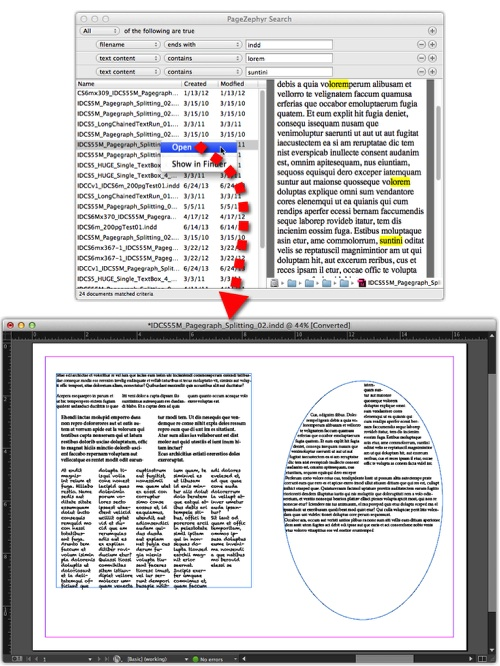 Markzware PageZephyr Search v1 Mac Right-Clicking Filename