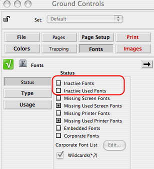 Markzware FlightCheck Preferences Fonts in Document Path of Job Set: Inactive Used Fonts