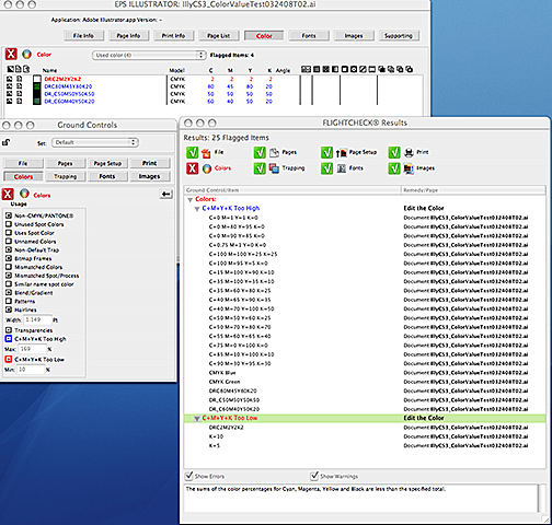 Colors Usage Ground Controls in Markzware FlightCheck Mac App for Print Quality Control